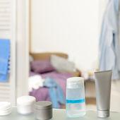 Shelf with beauty cosmetics and toiletries — Stock Photo