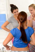 Typical teenager girls weight problems — Stock Photo