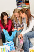 Young excited girls after shopping spree — Stock Photo