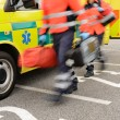 Rushing blurry paramedic unit portable devices truck - Foto Stock