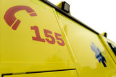Emergency phone number sign on ambulance car — Stock Photo