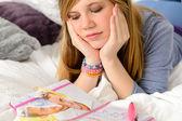 Lying depressed girl with broken heart — Stock Photo