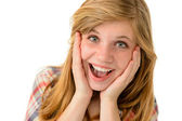 Happy girl expressing her joyful emotions — Stock Photo