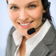 Close up of female support phone operator — Stock Photo #25912465
