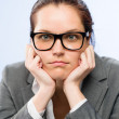 Tedious job woman bored at work — Stock Photo