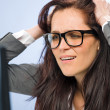 Stressed businesswoman overcharged with work — Stock Photo #25912503