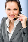 Portrait of female customer service operator — Stock Photo