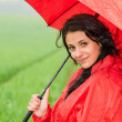 Smiling woman looking at camera during rainfall — Stock Photo #26352677