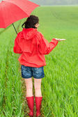 Woman standing in raincoat and with umbrella — Stock Photo