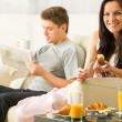 Young couple spending morning time together — Stock Photo #26418113