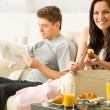 Young couple spending morning time together — Stock Photo