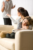 Suffering girl from parents separation and fights — Stock Photo