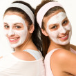 Happy caucasian girls wearing facial mask — Foto de Stock