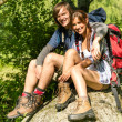Portrait of hikers young couple outdoors — Stock Photo