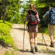 Hikers on path with trekking poles — Stock Photo