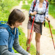 Male hiker watching map waiting for girl — Stock Photo