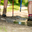 Closeup of hiker legs wearing trekking boots — Stock Photo