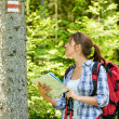 Stock Photo: Female hiker checking map and blaze