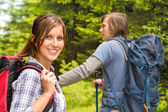 Portrait of hiker girl smiling at camera — Stock Photo