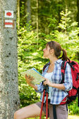 Female hiker checking the map and blaze — Stock Photo