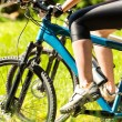 Mountain bikers wearing cycling shoes — Stock Photo