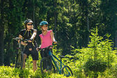 Mountain bikers resting in forest — Stok fotoğraf