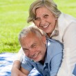 Foto Stock: Active retirement senior couple laughing