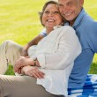 Happy senior couple in the park — Stockfoto