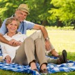 Happy pensioners hugging and relaxing outdoors — Stock Photo #28858737