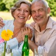 Cheerful senior couple smiling at camera — Stock Photo