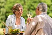 šťastný senioři řinčí poháry — Stock fotografie