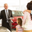 Stock Photo: Salesmselling car to family