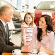 Car dealer and couple doing paperwork — Stock Photo