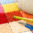 Carpeting knife, swatches and tape measure — Stock Photo