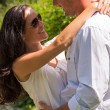 Close up portrait of hugging couple outdoors — Stock Photo #31302523