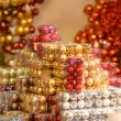 Pile of Christmas baubles in plastic boxes — Stock Photo