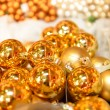 Glittering golden Christmas balls decoration — 图库照片
