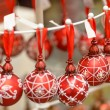 Hanging Christmas ornaments balls at shop — Stock Photo #31303963