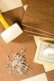 Selection of flooring tools — Stock Photo