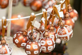 Hanging glittering Christmas decorations bulbs — Stock Photo