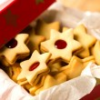 Christmas cookies star in red decoration box — Stock Photo
