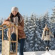 Young womsunny winter leagainst sledge — Stock Photo #35239481