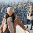 Winter young people friends enjoy snow — Stock Photo