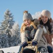 Foto Stock: Laughing teenagers sledge downhill in wintertime