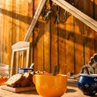 Breakfast wooden table outside winter snow cottage — Stock Photo