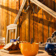 Stock Photo: Breakfast wooden table outside winter snow cottage