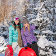 Two girlfriends in winter snowy forest bobsleigh — Stok fotoğraf