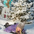 Two female friends enjoy snow winter countryside — Stok Fotoğraf #35239839