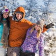 Friends enjoy winter holiday break snow mountains — Stock Photo