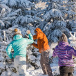 Snowball fight winter friends having fun — Stock Photo